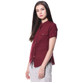 Uptownie Plus Maroon Solid Button Down Crepe Shirt 3 summer sale