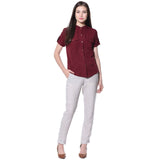 Uptownie Plus Maroon Solid Button Down Crepe Shirt 4 summer sale