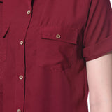 Uptownie Plus Maroon Solid Button Down Crepe Shirt 5 summer sale