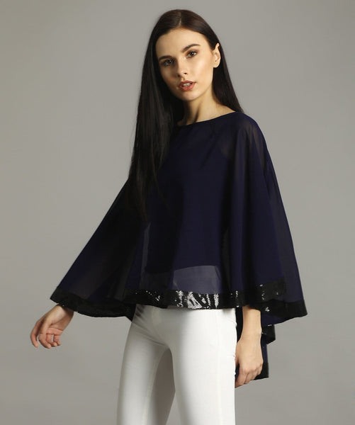 Navy Georgette Cape Maternity Top