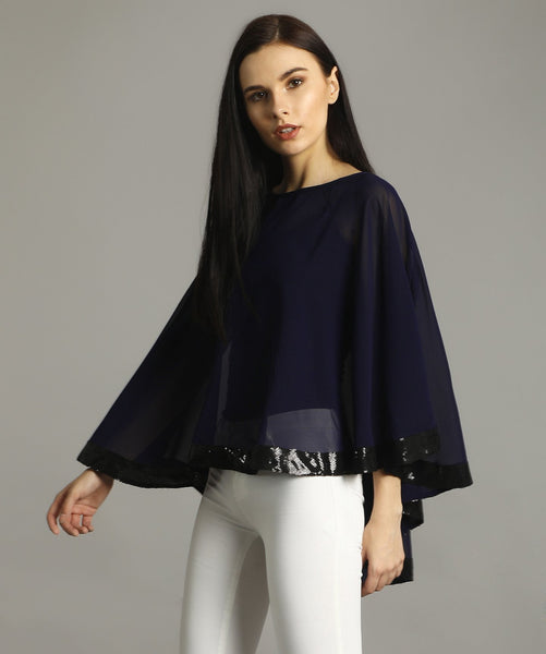 Uptownie Plus Navy Georgette Cape Top