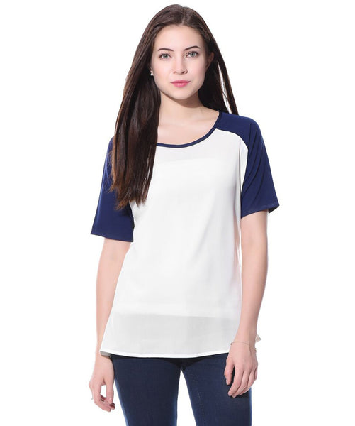 Uptownie Plus Navy & White Crepe T-shirt. FLAT 200 OFF