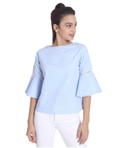 Uptownie Plus Pearly Bell Sleeves Denim Top
