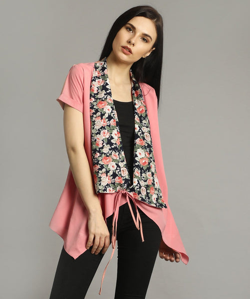 Uptownie Plus Pink Solid & Floral Tie Up Shrug 1 clearance sale