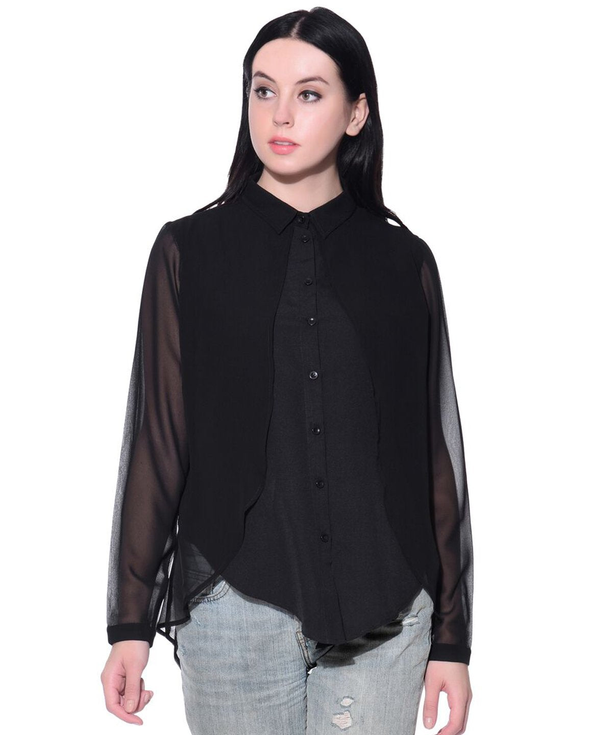 Uptownie Plus Solid Black Ruffle Georgette Overlay Shirt 1 clearance sale