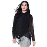 Uptownie Plus Solid Black Ruffle Georgette Overlay Shirt 2 clearance sale