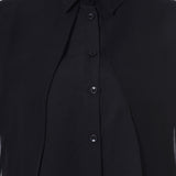 Uptownie Plus Solid Black Ruffle Georgette Overlay Shirt 4 clearance sale