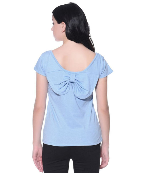 Solid Blue Back Bow Maternity Top (cotton)