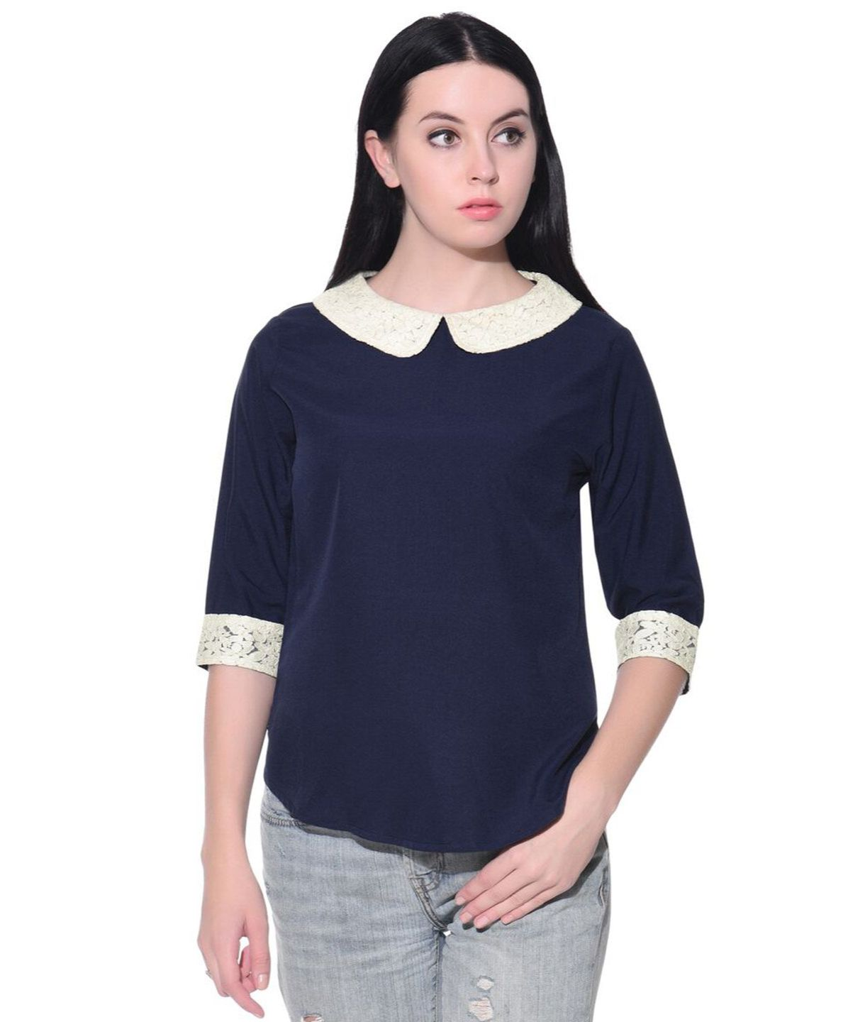 Uptownie Plus Solid Blue Collar Casual Top