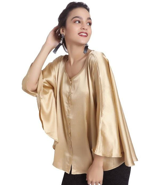 Uptownie Plus Solid Gold Satin Cape Top. FLAT 200 OFF