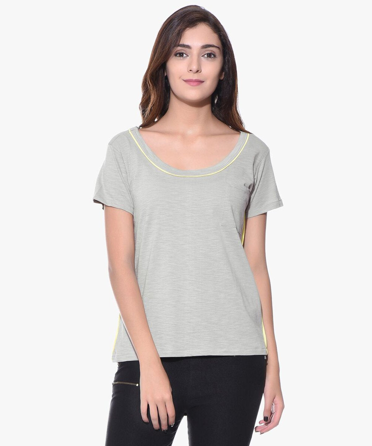 Uptownie Plus Solid Grey Casual T-shirt (cotton) 1 summer sale