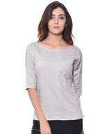 Uptownie Plus Solid Grey Knot Casual T-shirt (cotton) 1 summer sale