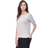 Uptownie Plus Solid Grey Knot Casual T-shirt (cotton) 2 summer sale