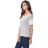 Uptownie Plus Solid Grey Lace T-shirt (cotton) 2 trendsale