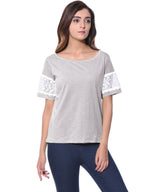 Uptownie Plus Solid Grey Lace T-shirt (cotton) 3 trendsale