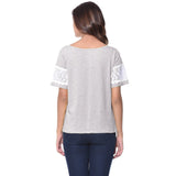 Uptownie Plus Solid Grey Lace T-shirt (cotton) 4 summer sale