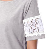 Uptownie Plus Solid Grey Lace T-shirt (cotton) 6 summer sale