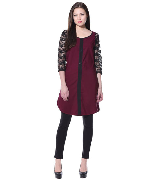 Uptownie Plus Solid Maroon Lace and Crepe Tunic