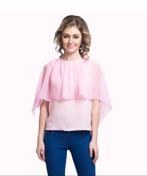 Uptownie Plus Solid Pink Crepe and Georgette Cape Top. EXTRA 18% OFF
