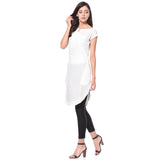 Uptownie Plus Solid White Cap Sleeves Long Crepe Tunic 2 clearance sale