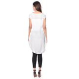 Uptownie Plus Solid White Cap Sleeves Long Crepe Tunic 3 clearance sale