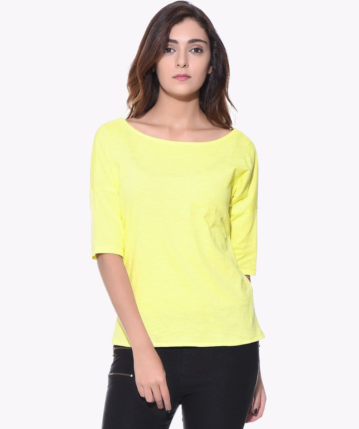 Uptownie Plus Solid Yellow Casual T-shirt (cotton) 1 clearance sale