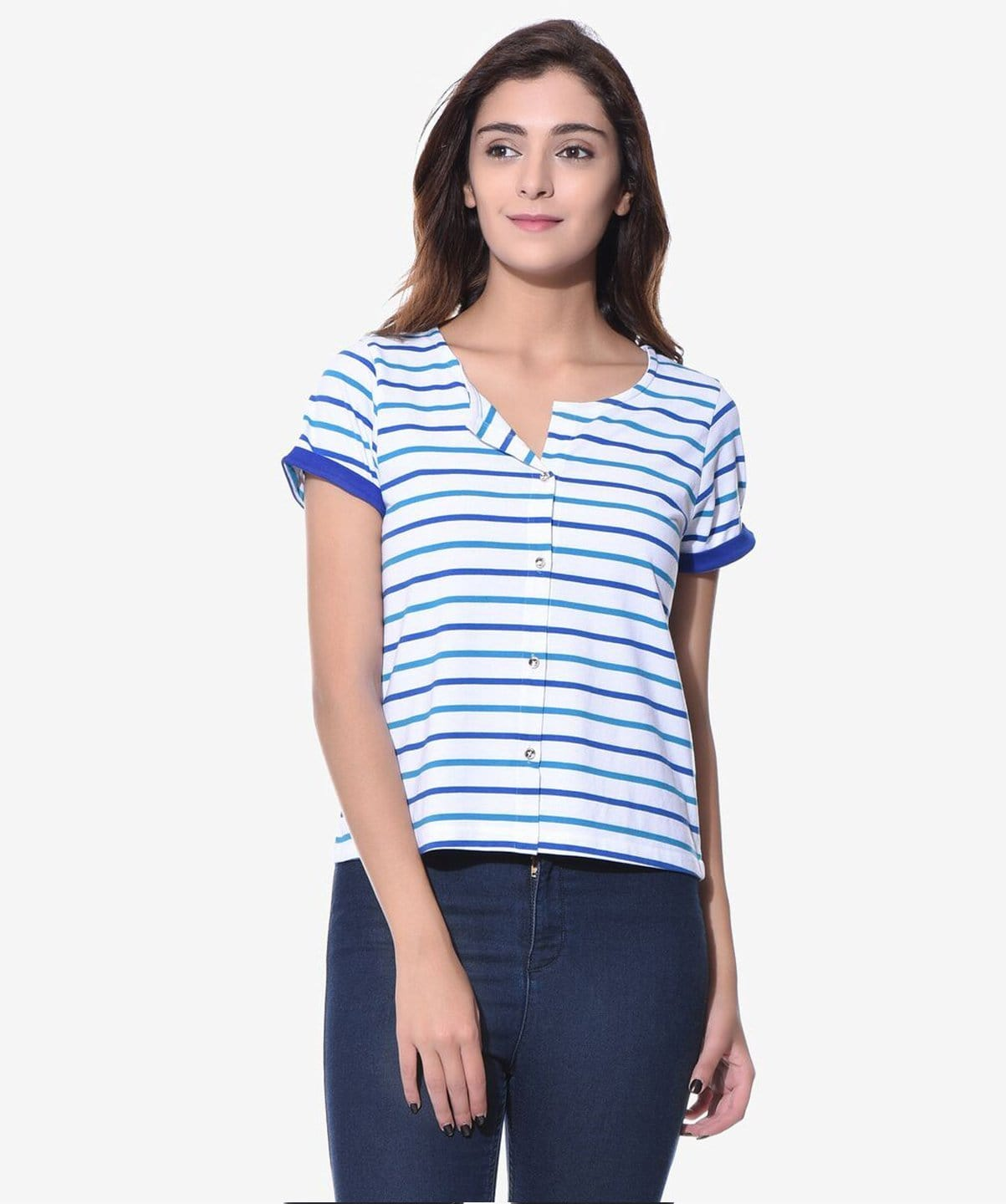 Uptownie Plus Striped Blue Buttoned T-shirt (cotton) 1 summer sale