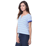 Uptownie Plus Striped Blue Buttoned T-shirt (cotton) 2 summer sale