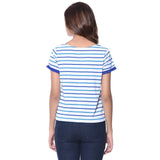 Uptownie Plus Striped Blue Buttoned T-shirt (cotton) 3 summer sale