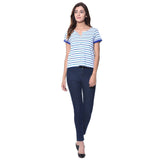 Uptownie Plus Striped Blue Buttoned T-shirt (cotton) 4 summer sale