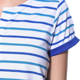 Uptownie Plus Striped Blue Buttoned T-shirt (cotton) 5  clearance sale