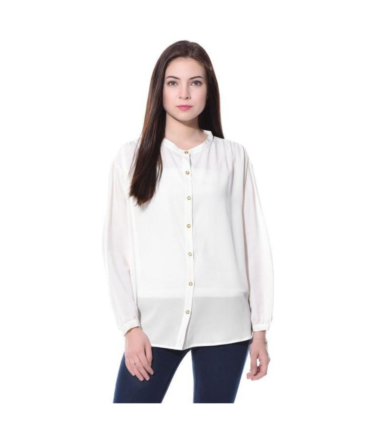 Uptownie Plus White Solid Full Sleeves Button Down Crepe Shirt