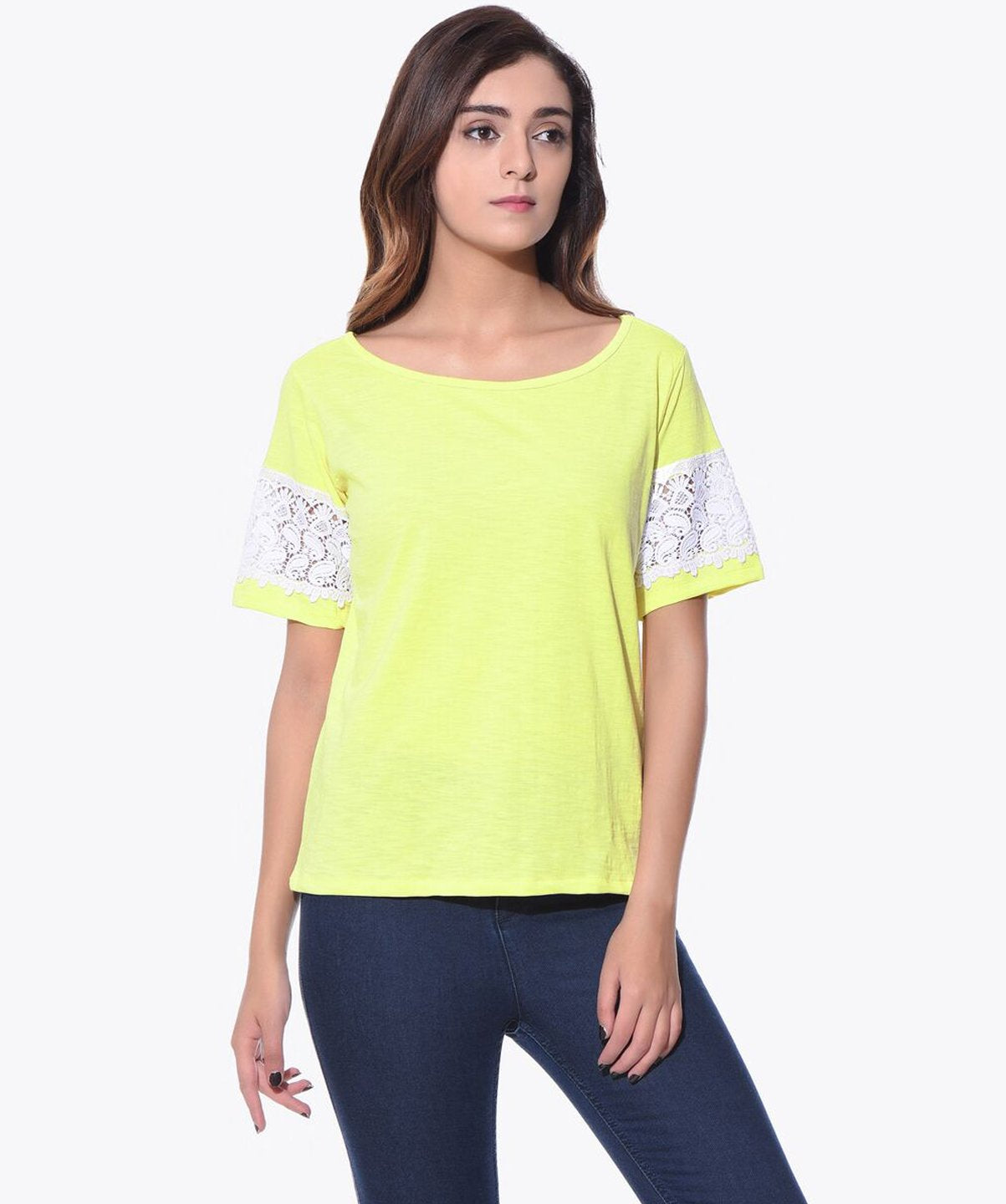 Uptownie Solid Yellow Lace Sleeved Top 1 summer sale