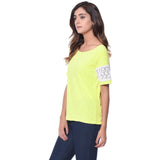 Uptownie Solid Yellow Lace Sleeved Top 2 summer sale