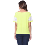 Uptownie Solid Yellow Lace Sleeved Top 3 summer sale