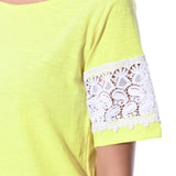 Uptownie Solid Yellow Lace Sleeved Top 5 trendsale
