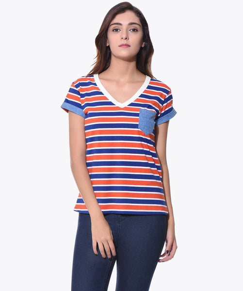 Uptownie Women Striped Casual T-shirt