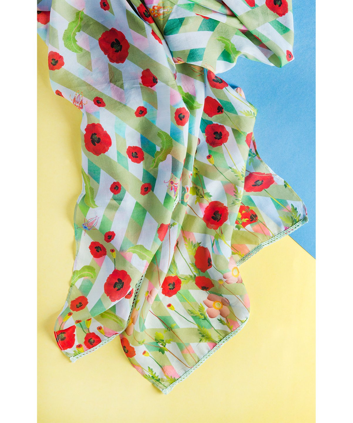 Uptownie X Charu Desi - Light Green Floral Printed Party Wear Scarf