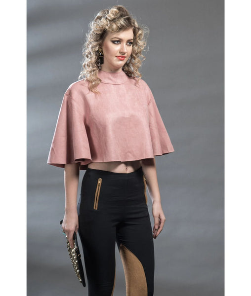Uptownie X Pearl-Solid Suede/Pink Cape Top