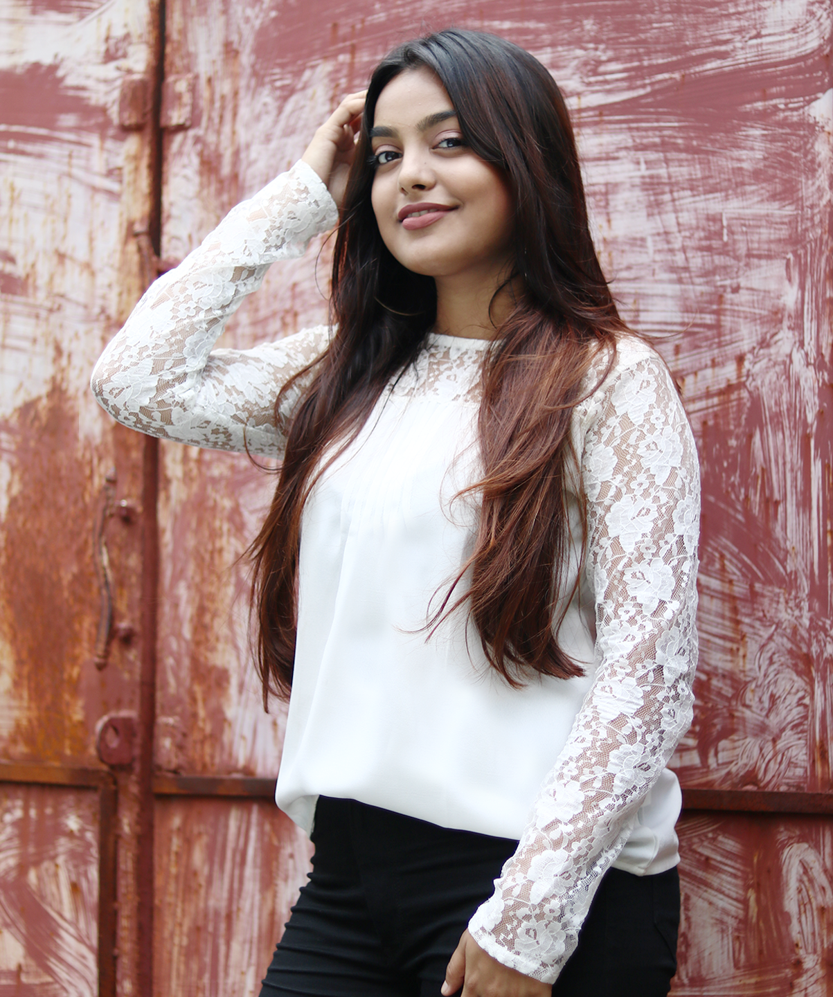 Uptownie X Pearl-Solid White Lace long Sleeves Top. BUY 1 GET 3