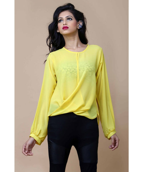 Uptownie X Pearl-Solid Yellow Draped Top. SALE UNDER 399