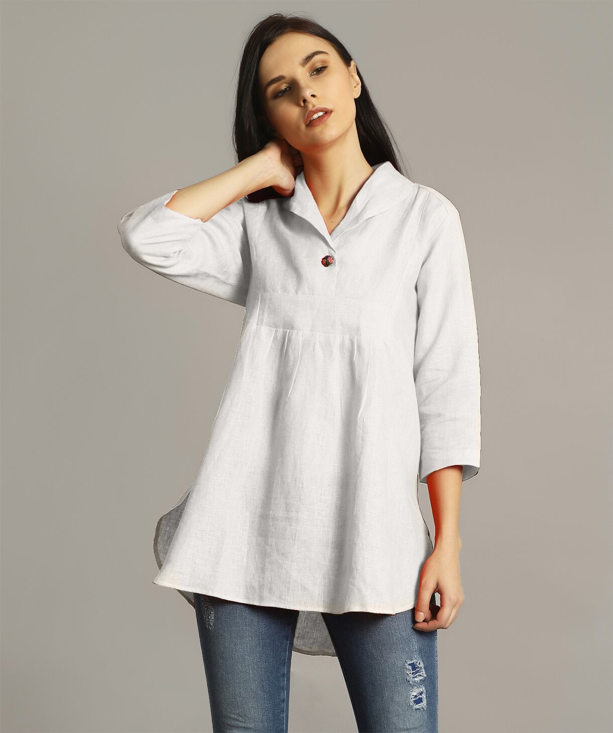White High-Low Handloom Tunic