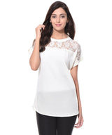 White Lacy Sheer Neck Top. SALE AT 299