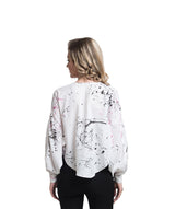 White Printed Statement Sleeves Crepe Top. FLAT 20% OFF