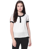 Uptownie Plus White Slit Sleeves Crepe Top. BUY 1 GET 3