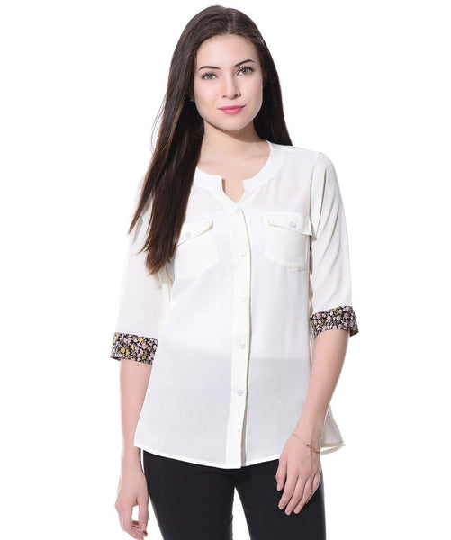 White Solid Button Down Crepe Shirt - Uptownie
