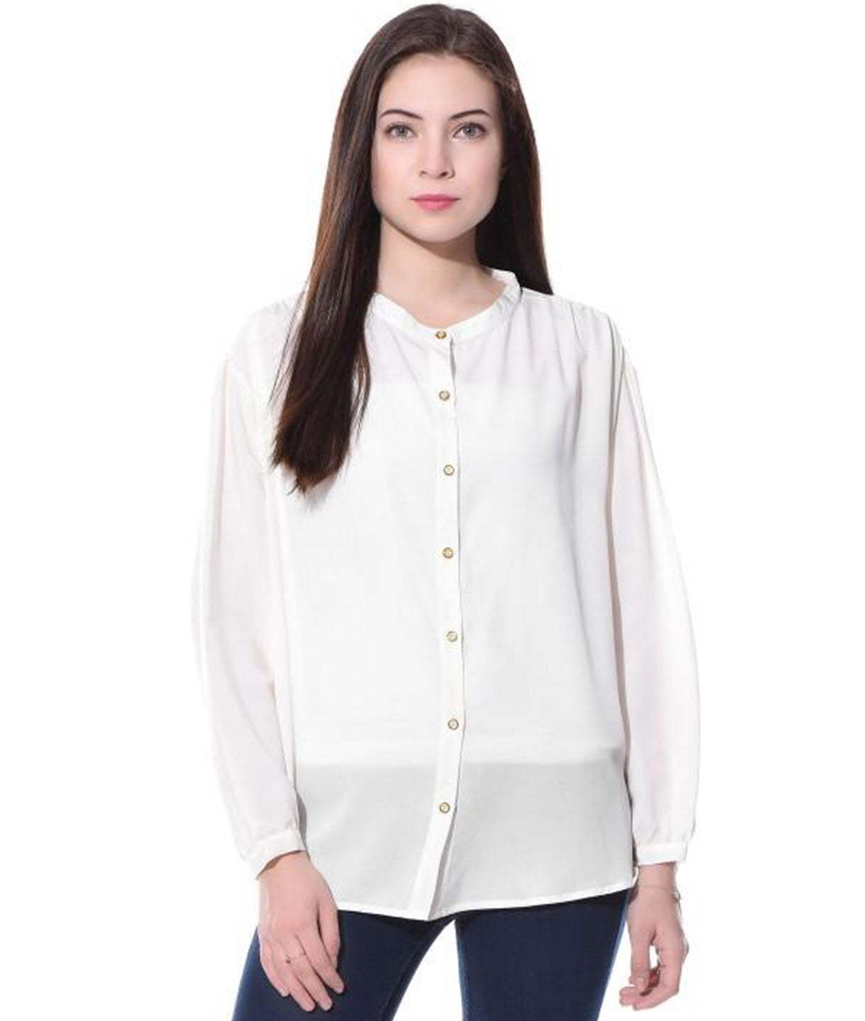 White Solid Full Sleeves Button Down Crepe Shirt. BUY 1 GET 1