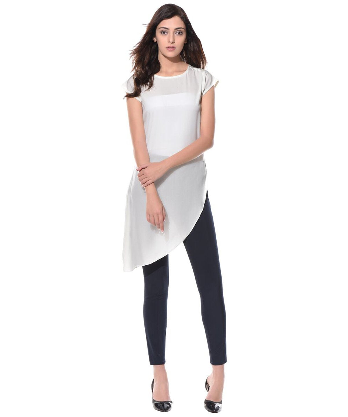 Uptownie White Solid Side-Slit Casual Crepe Top 1 trendsale