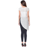 Uptownie White Solid Side-Slit Casual Crepe Top 4 Sale at 399