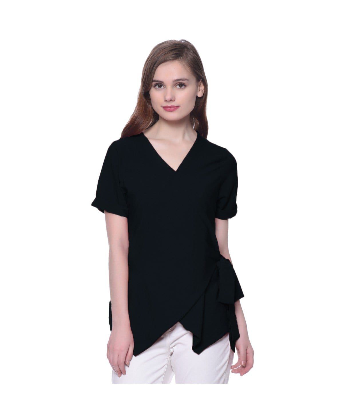 Black Solid Crepe Wrap Top